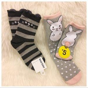 2 Pairs of Kawaii Socks • Cat & Bunny •